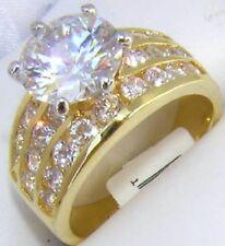 18K GOLD 4.0CT SIMULATED DIAMOND WEDDING RING sz 8 or Q