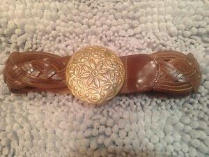 Ralph Lauren Ladies Leather Belt Hammered Brass Buckle made in Argentina 1980s?