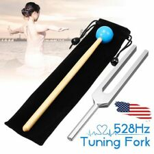 US 528HZ Aluminum Medical Tuning Fork Chakra Hammer Ball Diagnostic + Mallet Set