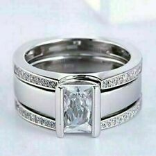 Moissanite Engagement Ring 925 Sterling Silver 2.48 Ct Near White Radiant Cut