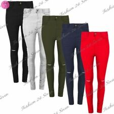 Polyester Ripped High Trousers for Women