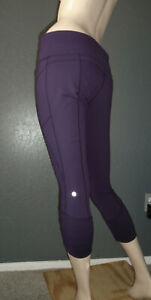 LULULEMON Capri Pants PRACTICE DAILY CROP Deep Zinfandel Full On Luon Ruched 10