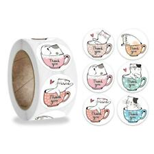 500Pcs/Roll Cute Kitty Cat Round Thank You Stickers Party Gift Packaging Labels