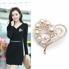 Charming Heart Pearl Crystal Brooch Buckle Saree Dress Pin Badge Bridal Women