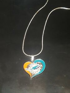 Miami Dolphins Heart Pendant Necklace Sterling Silver Chain NFL Football