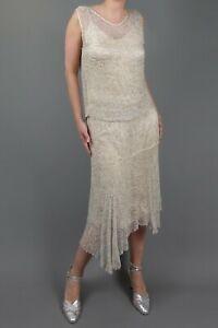 Original VINTAGE 1920s Fully Beaded Dress Silk Chiffon Art Deco Flapper