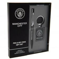 Manchester City F.C. Pen & Keyring Set Gift for Him Valentines Birthday Present