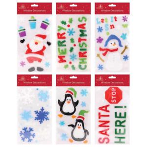 Christmas Window Stickers Xmas Santa Removable Gel Decal Wall Home Shop Decor