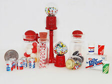 15 LOT DOLLHOUSE MINI GUMBALL MACHINES, PEPPERMINT, OREO'S, 12 PK DR PEPPER,CUPS