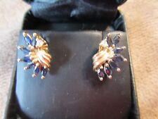 Vintage 14K solid gold blue sapphire/diamond earrings