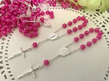 50 Mini Rosary HOT PINK Baptism Favors/recuerdos De Bautizo/Christening Favors