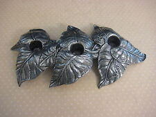 "Vintage Carson Pewter Rising 3 Leaves Candle Holder, 10 1/2"" X 5"""