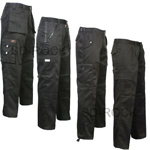 Mens New Holster Pockets Stretch Panels Cargo 7 Zips Work Trousers Pants Bottoms