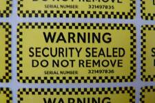 WARNING SECURITY STICKERS ultra destructible labels unique serials coloured 1000