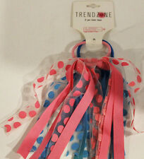 TREND ZONE 2PCS HAIR TIES PINK AND BLUE WITH POLKA DOTS