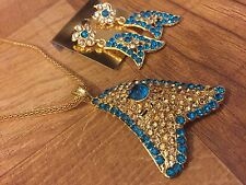 Indian Pakistani Ethnic Antique Gold Finish Turquoise Pendant Necklace Earring
