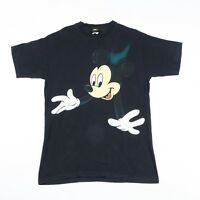 Vintage Mickey Mouse Official Disney Black T-Shirt | Men's L | Top Retro Tee