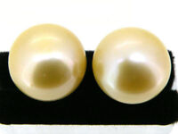 Natural AAA++ 10.5mm berad champagne south sea pearl earring 14k yellow gold