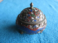ANTIQUE CHINESE BRONZE CLOISONNE ENAMEL BOX