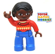 *NEW* LEGO DUPLO Female Woman Girl Figure Mother Mom Red Shirt Sweater African