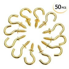 50pcs Brass Cup Hooks Screws Plant Coat Hanger Key Jewelry Display Holder