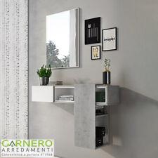 Mobile ingresso RICH bianco cemento sospeso scorrevole moderno specchio design