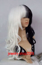 FIXSF913 long new fancy fashion black white curly health Hair wig cosplay Wigs