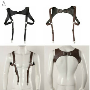 Men Women Leather Suspenders Braces Medieval Renaissance Adjustable Buckle Hooks