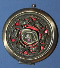 Antique Ornate Floral Metal Powder Compact Mirror Case