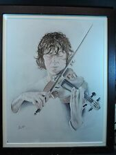 ORIGINAL  SIGNED AND FRAMED WATERCOLOUR 'Violinist'