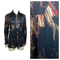 1970s Novelty Print Shirt / 70s Nylon Disco Shirt Abstract Print Scene XS/S