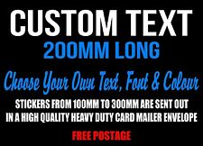 Custom Sticker Decal 200mm Vinyl Cut Made Lettering Personalised Word Text Car