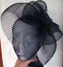 Fascinator de la sombrerería Burlesque Boda Negro Sombrero hair piece Ascot carrera nupcial