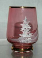 6 Mary Gregory Pink Cranberry Glasses Gold Rim Trees