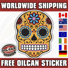 orange / blue Sugar Candy skull sticker/ hotrod kustom decal XL 195mm x 250mm