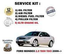 FOR FORD MONDEO 2.0TDDi 2000-> SERVICE OIL AIR FUEL POLLEN FILTER SET + 6LTR OIL
