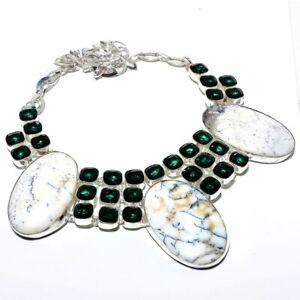 """Brazilian Dendritic Opal, Tsavorite 925 Sterling Silver Necklace 16-18""""LN-1511"""