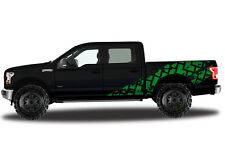 Vinyl Decal Wrap Kit TIRE TRACKS for Ford F-150 2015-17 GREEN SuperCrew 5.5 Bed