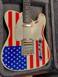 American Flag Custom Telecaster Guitar + Nice Hard Shell Case