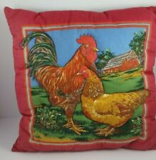 Hand Made Rooster Hen Quilted Pillow Farm Decor Rustic Throw 12x12 Square EUC
