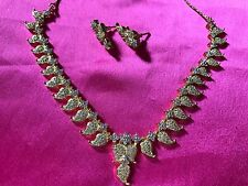 semi precious necklace & matching earrings with silver copper 1g gold polishable