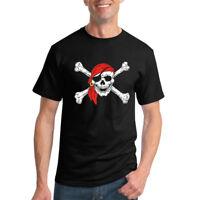 Jolly Roger Pirates Skull And Bones T Shirt Classic Pirate In Bandana Humor Tee