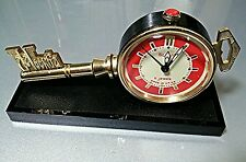 Vintage Alarm Clock SLAVA Key of Moscow Mechanical Ключ Москва Red & White Dial