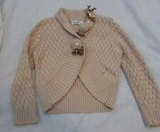 SARAH LOUISE girls 4 4T lt brown tan cable knit embellished cardigan sweater