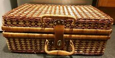 Vintage wicker picnic hamper set with green  plastic plates, cups & cutlery x4