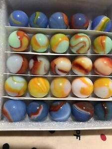"""BEAUTIFUL (OLD) VINTAGE UNUSED, IN MINT CONDITION MARBLES. """"25 IN BOX""""."""