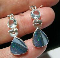 Sterling SILVER Doublet Real Fire Opal Blue Topaz Drop EARRINGS Art Deco Style