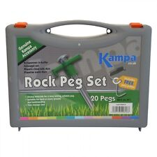"20 ROCK PEG & PULLER SET tent pegs camping extractor carry case box 8"" 20cm"