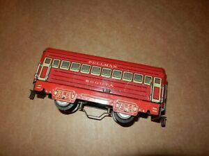 MARX Bogota 6 inch Coach, Red, Litho Frame,  Illuminated,  4 Wheel, Original