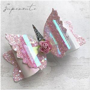 Girls Glitter Bow Unicorn Fairy Sparkling Hair Bow Clip Pink Hair Bows